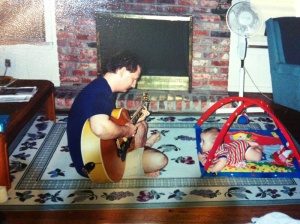 And here 's me singing the song to him about a year later.